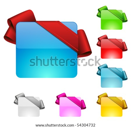 birthday button with color variation - stock vector