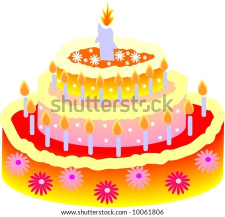 Birthday cake - stock vector