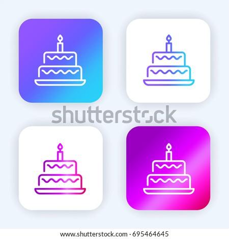 Birthday Cake Bright Purple Blue Gradient Stock Vector 2018