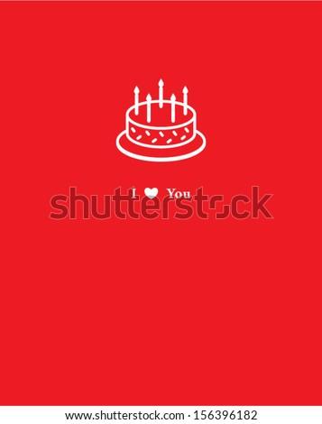 birthday cake card - stock vector