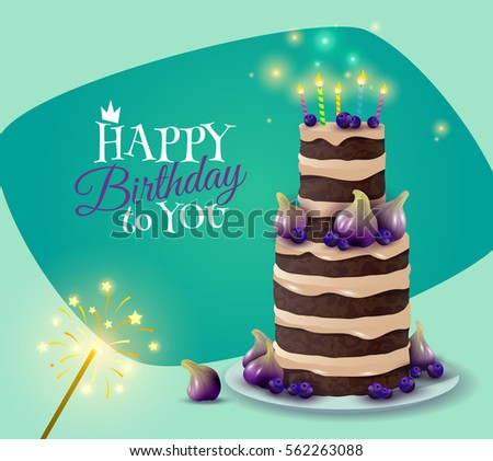 Birthday Cake Card Celebration Greeting Symbols Stock Photo Photo