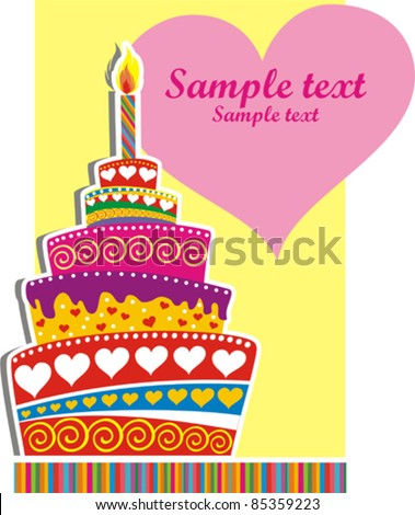 birthday cake card with place for your text. Vector Illustration - stock vector