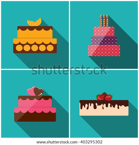 Birthday Cake Flat Icon Set with Long Shadow for Your Design, Vector Illustration Eps10