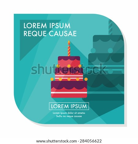birthday cake flat icon with long shadow,eps10 - stock vector