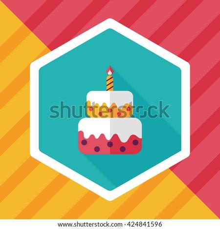 Birthday Cake Flat Icon Long Shadoweps10 Stock Vector 264548222
