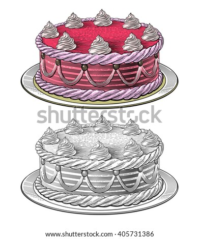 Birthday cake in engraving style, isolated on transparent background. - stock vector