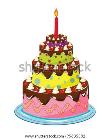 Birthday cake over white - stock vector