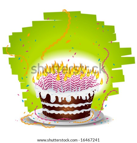 Birthday cake overloaded with candles - stock vector