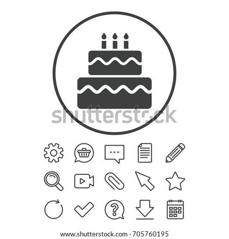 Birthday Cake Sign Icon Cake Burning Stock Vector 705760195