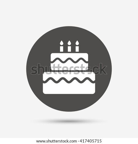 Birthday Cake Sign Icon Cake Burning Stock Vector 417405715