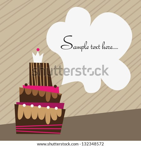 Birthday cake, Vector birthday card with a space for your text - stock vector