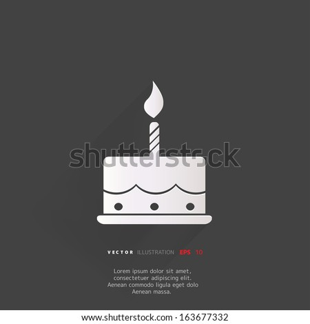 Birthday cake web icon - stock vector