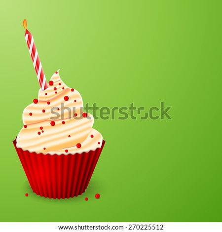 Birthday cake with a candle on a green background - stock vector