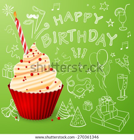 Birthday cake with a candle on background of Birthday strategy Idea Sketch - stock vector