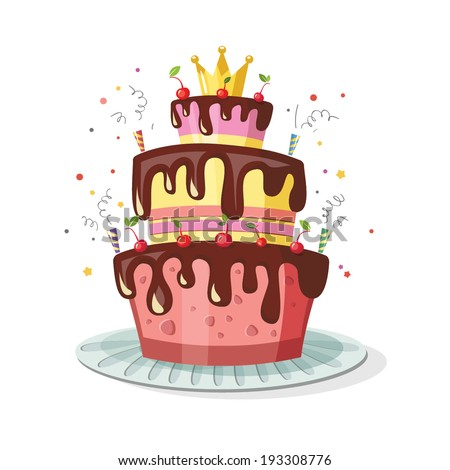 birthday cake with a crown - stock vector