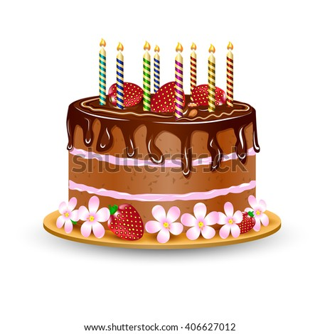BIrthday cake with burning candles, chocolate creme, strawberry and flowers. Isolated cake. Family party. Vector Illustration.