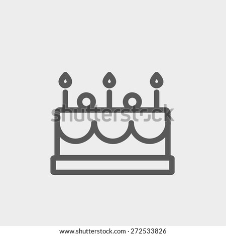 Birthday cake with candle icon thin line for web and mobile, modern minimalistic flat design.  Vector dark grey icon on light grey background. - stock vector