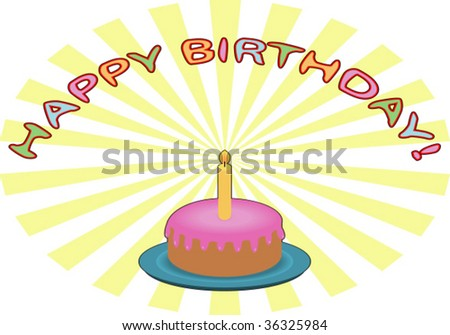 Birthday Cake with Candle. Isolated Vector Illustration.