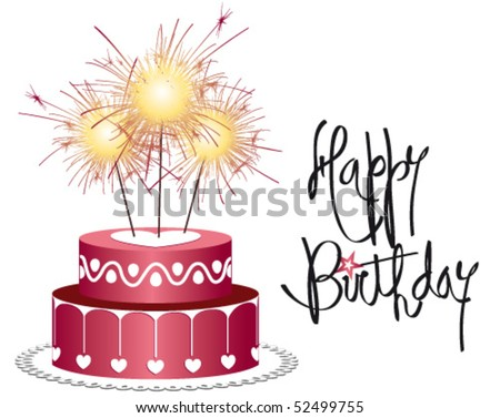 Birthday cake with candle lit firework - stock vector