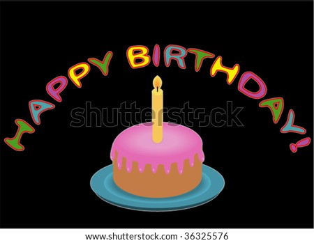 Birthday Cake with Candle. Vector Illustration.