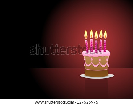 Birthday Cake with 5 candles - stock vector