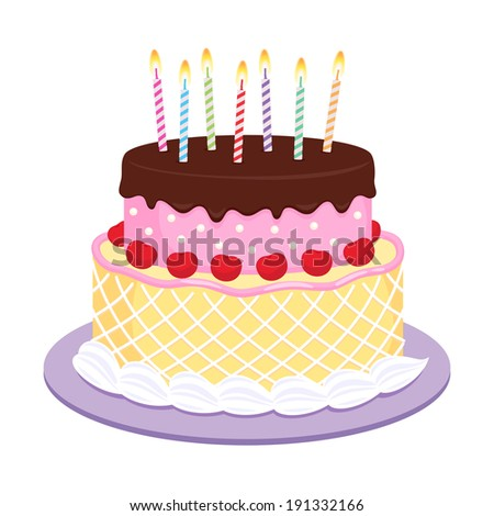 Birthday cake with candles illustration.