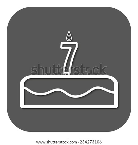 Birthday cake with candles number 7. Vector. Flat - stock vector