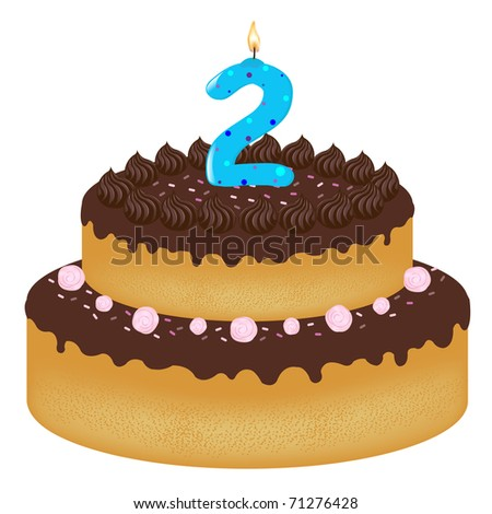Birthday Cake With Candles With Number Two, Isolated On White Background, Vector Illustration - stock vector