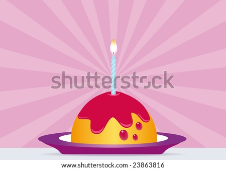 Birthday Cake with Lighted Candle. All elements are on separate layers and can be easily edited. - stock vector
