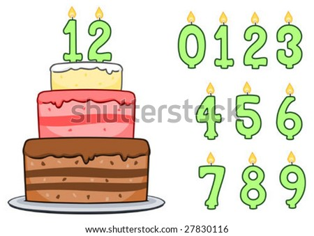 Birthday cake with number candles. Includes numbers zero through nine so you can place the number of your choice on the cake. - stock vector