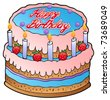 Birthday cake with strawberries - vector illustration. - stock vector