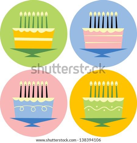 Birthday Cakes - stock vector