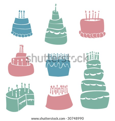 Birthday Cakes - stock vector
