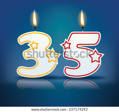 Birthday candle number 35 with flame - eps 10 vector illustration - stock vector