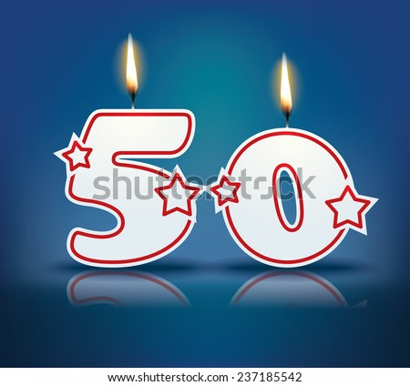 Birthday candle number 50 with flame - eps 10 vector illustration - stock vector