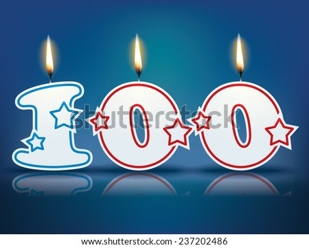 Birthday candle number 100 with flame - eps 10 vector illustration - stock vector