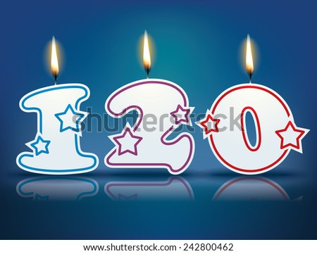 Birthday candle number 120 with flame - eps 10 vector illustration - stock vector