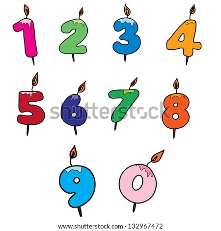 Birthday Candles as number, Isolated On White Background, Vector Illustration - stock vector