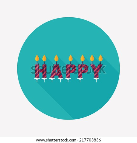 Birthday candles flat icon with long shadow,eps10 - stock vector