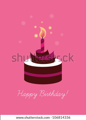 Birthday card, birthday cake with candle, wedding cake, cake, sweet shop - stock vector