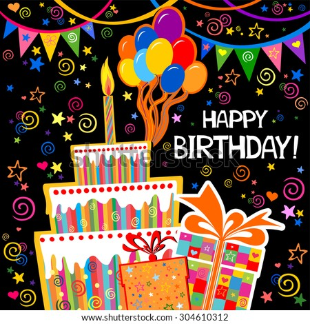 Birthday card. Celebration black background with gift boxes, Balloons, Birthday cake and place for your text. vector illustration - stock vector