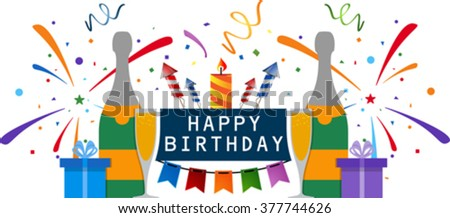Birthday card. Celebration design elements: champagne, gift boxes, flags and confetti. Eps 10 - stock vector
