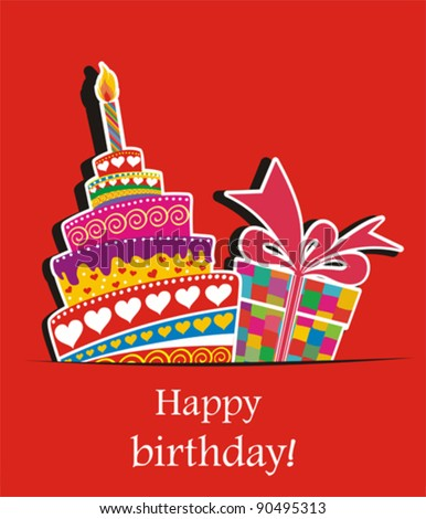 Birthday card. Celebration red background with Birthday cake, gift boxes and place for your text. vector illustration