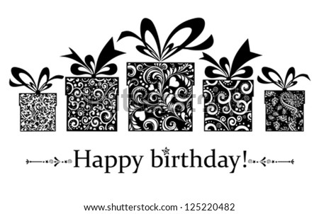 Birthday card. Celebration red background with gift boxes and place for your text. vector illustration - stock vector