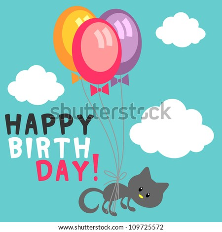 Birthday card cute kitty with balloons in the sky - stock vector