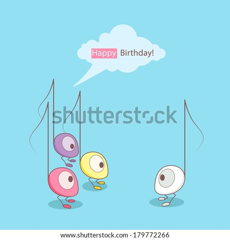 Birthday card. Cute monster music notes greeting with birthday. - stock vector