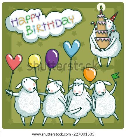 Birthday Card Design Very Cute Sheep Stock Vector Royalty Free