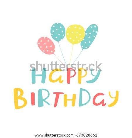 Birthday vector card inscription happy birthday stock vector birthday card design with inscription happy birthday and ballons with stars texture bookmarktalkfo Choice Image
