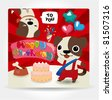 Birthday card, dog friends. - stock vector