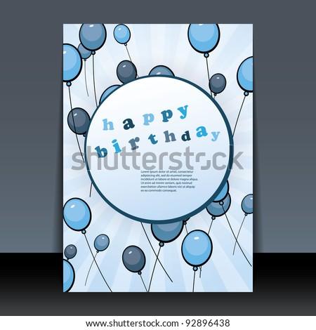 Birthday Card, Flyer or Cover Design - stock vector